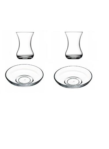 Paşabahçe Çay Seti - Çay Bardağı Çay Tabağı Takımı 12 Prç. Renkli